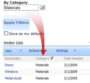 The Choice Filter Web Part filters the Order List by materials.