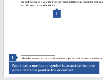 Word uses a number or symbol to associate the note with a reference point in the document