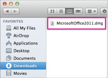 Select MicrosoftOffice2011.dmg file