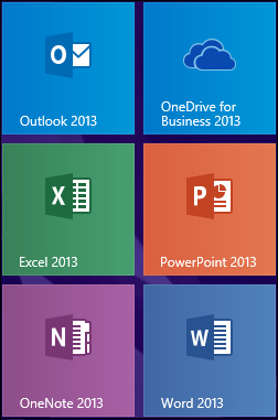 OneDrive for Business 2013 program tile in Windows 8
