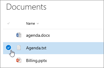 Document being highlighted with cursor over check box