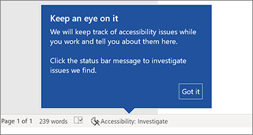 Status bar showing that the Accessibility Checker is running