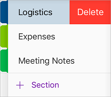 Delete a section in OneNote for iOS