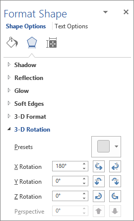 X Rotation on the Effects tab