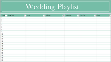Conceptual image of a music playlist spreadsheet