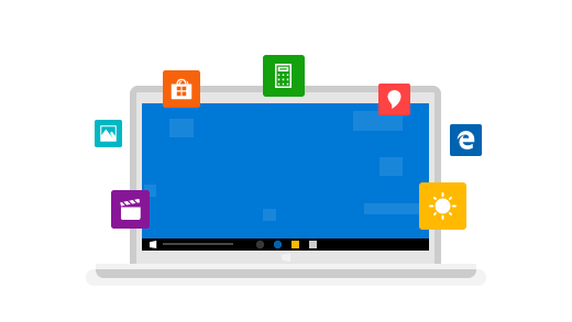 A laptop surrounded by icons for top Windows 10 features