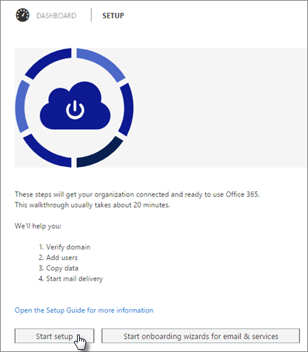 An image of the Basic setup wizard on the Office 365 admin center.