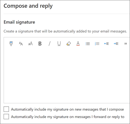 Creating an email signature in Outlook on the web
