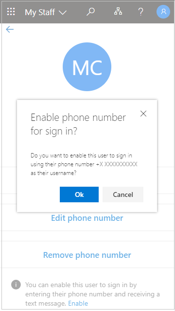 """Screenshot that shows the """"Enable phone number for sign in?"""