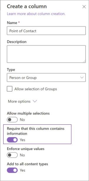 Column creation options