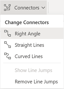 The Shapes tab of the ribbon has a Connectors menu of options.