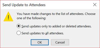 You can choose whether to send an update to all attendees.