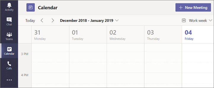 Select Calendar and then select New Meeting.