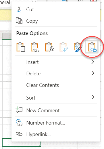 Paste Link on the context menu for a cell