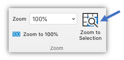 Screen shot of the zoom to selection button which is on the View tab of the ribbon.