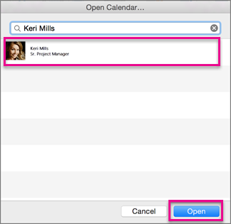 Open a shared calendar