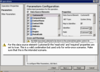 Screenshot 2 of the All Operations dialog in SharePoint Designer. This page shows warnings that explain settings for key properties on the list.