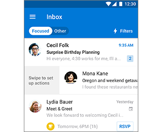 Inbox with swipe action