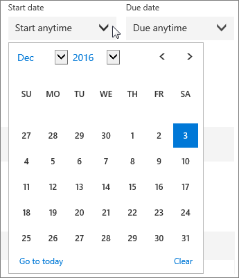 Screenshot of the expanded Start Date menu for a Planner task.