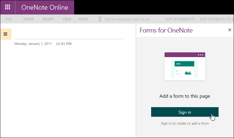 Forms for OneNote panel in OneNote Online