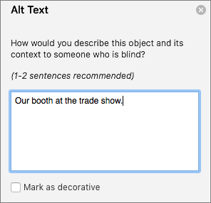 The Alt Text pane in Word