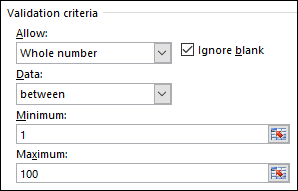 Validation criteria dialog box