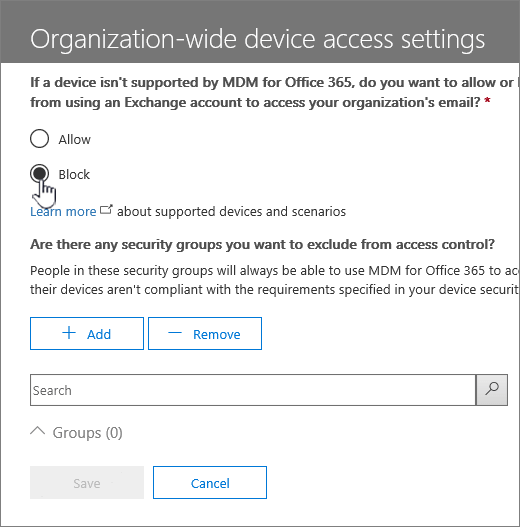 Manage device access - selecting Block