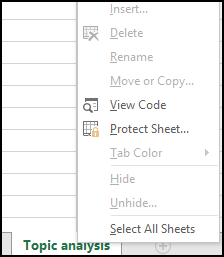 Options to work with a sheet are unavailable in a locked workbook