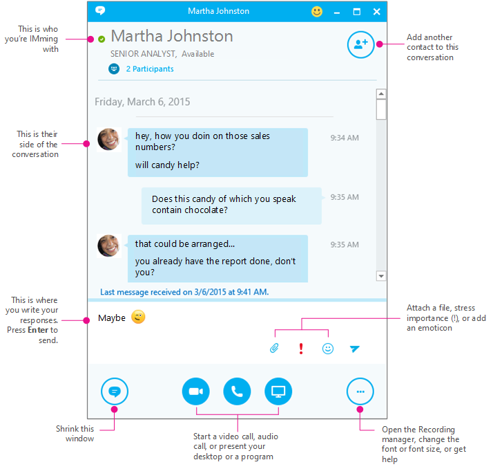 Skype for Business IM pane, diagrammed