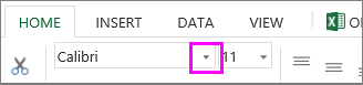 font selection button on the ribbon