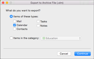 Check the items you want to export.