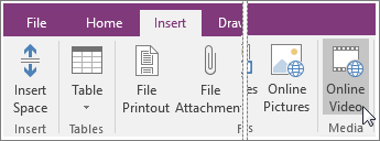 Screenshot of how to insert an embedded video into OneNote 2016.