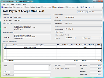 late payment charge invoice