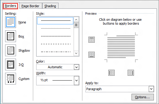 Word 2010 Borders and Shading dialog box