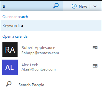 Calendar search list that appears when you type something in the Calendar Search box and matches a name in your contact list or directory.