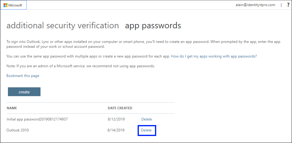 Screenshot that shows deleting an app password on the App passwords page