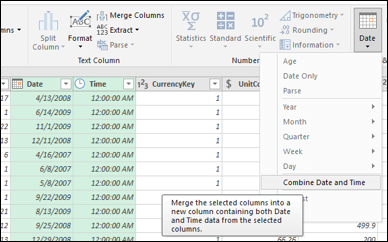 Power Query - Merge Dates and Times into a Date/Time column from the Query Editor