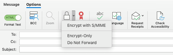 Encrypt with S/MIME option