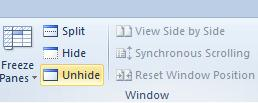 Hide command in the Window group