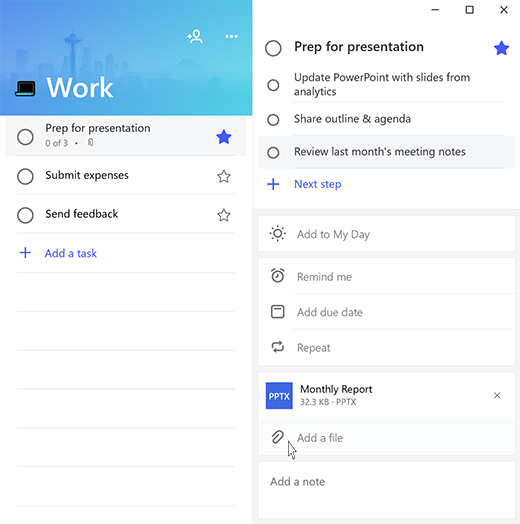 Screenshot with Microsoft To-Do open to task Prep for presentation and the option to Add a file highlighted.