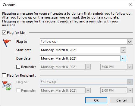 Outlook custom flag set up window