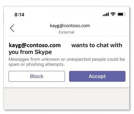 Mobile version of invite from Skype user for Microsoft Teams