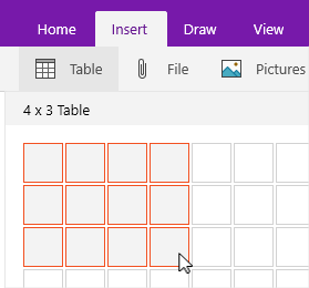 Insert table command showing selection grid