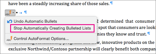 The option to stop automatically creating bulleted lists is highlighted.