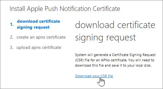 Install APN Certificate dialog box