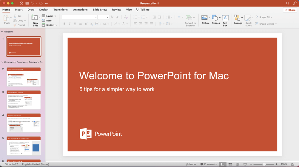 PowerPoint 2021 for Mac window with Take a Tour template opened