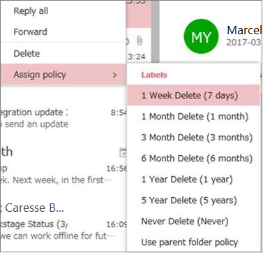 Screenshot of example retention policies in Groups in Outlook on the web