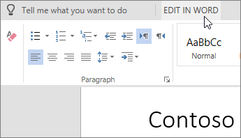 Select Edit in Word to switch to the desktop version