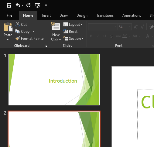 Shows the Black Theme in PowerPoint 2016 for Windows