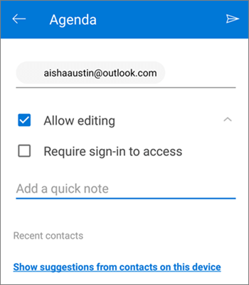 Screenshot of inviting people to share a file from OneDrive for Android